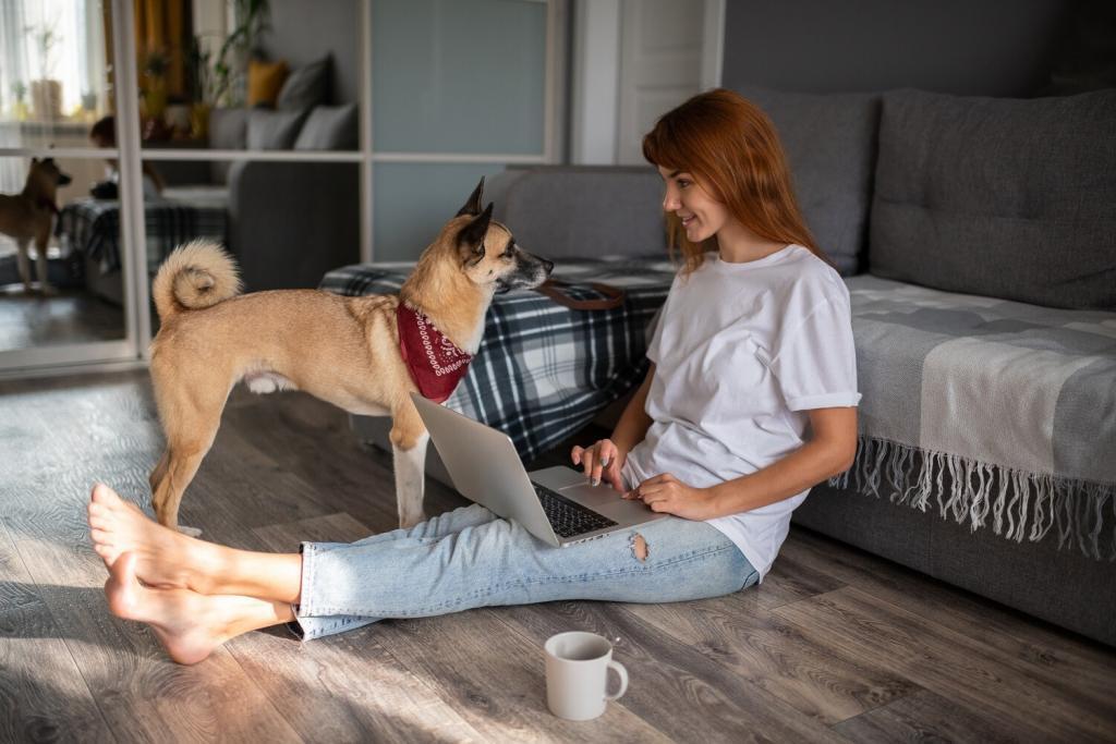 Dog owner doing freelance job at home